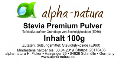 Stevia Premium Pulver 100g